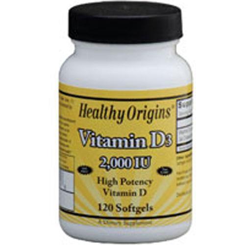 Healthy Origins Vitamin D3 2000 IU (120 Softgels)