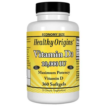 Healthy Origins Vitamin D3 10000 IU (360 Softgels)