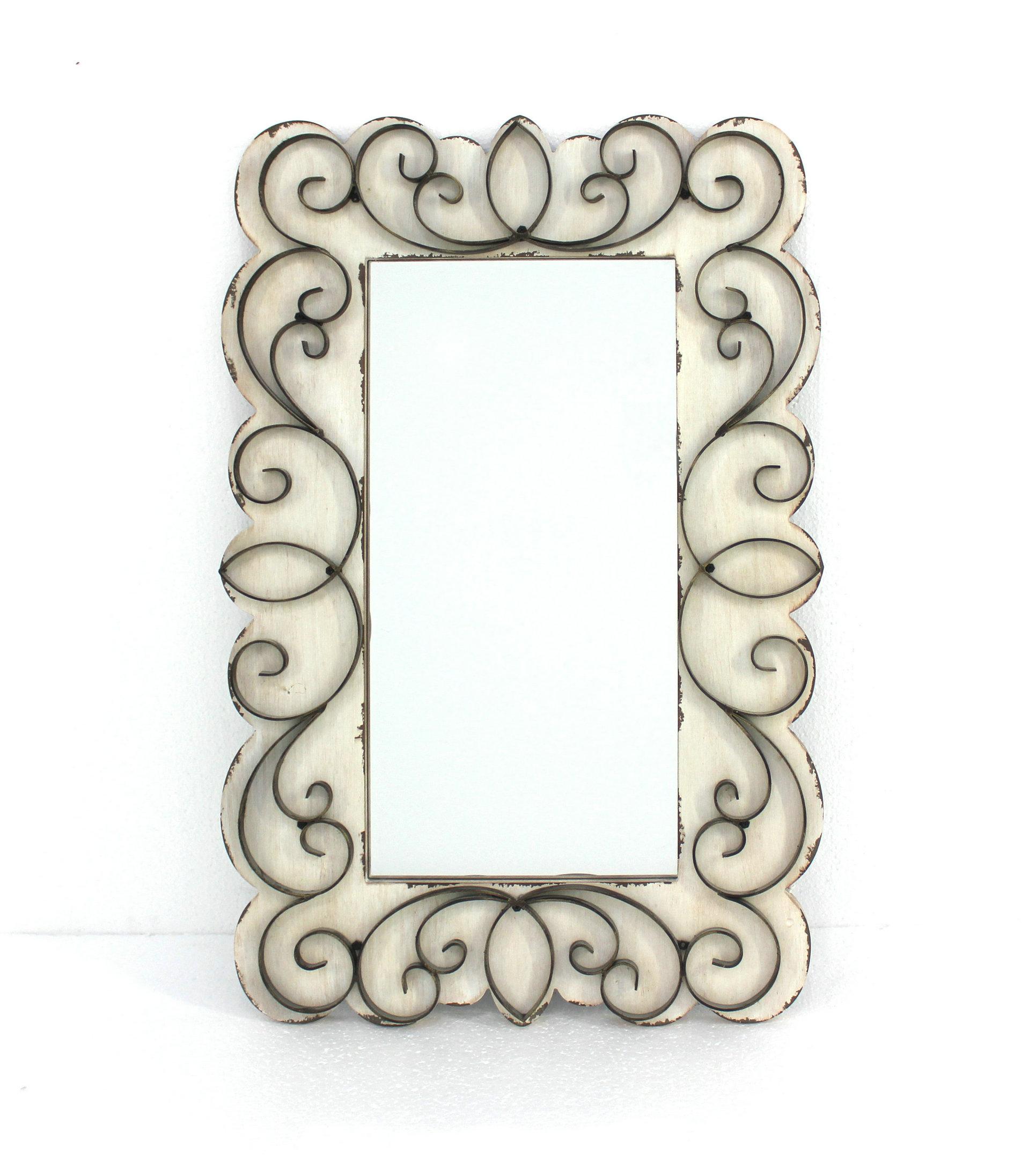 "32.75"" x 21.75"" x 1.25"" White, Vintage Decorative, Wood & Metal - Wall Mirror"