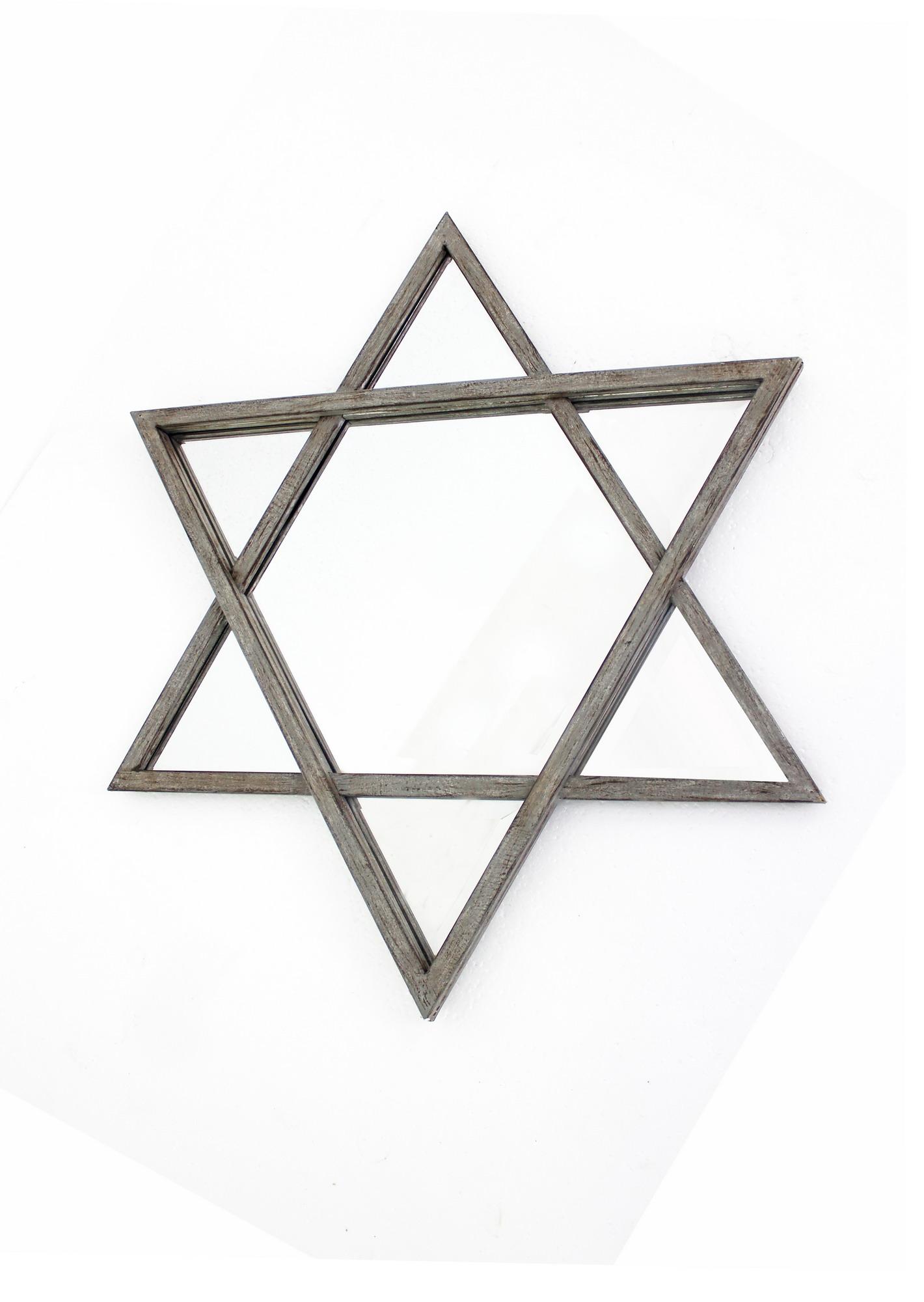 "26"" x 30"" x 2"" Silver, Rustic, Hexagram Wooden - Cosmetic Mirror"