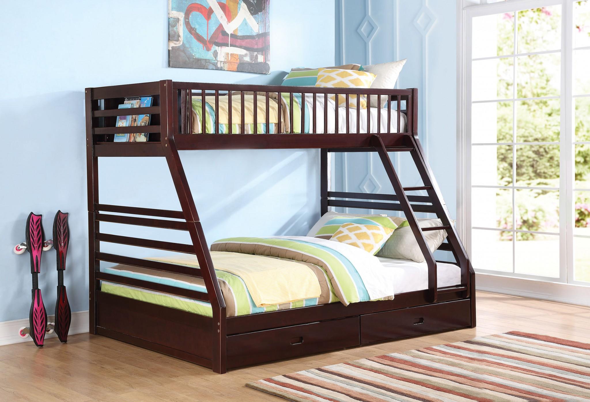 "83"" X 63"" X 65"" Espresso Pine Wood Twin XL Over Queen Bunk Bed"