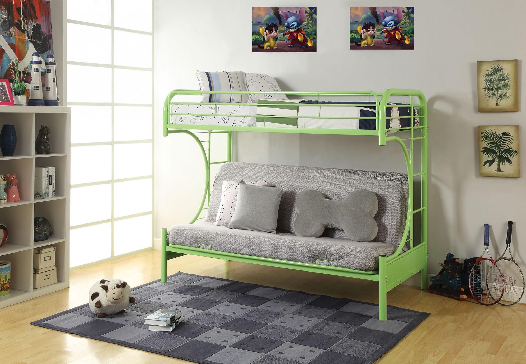 """78"""" X 41"""" X 65"""" Twin Over Full Green Metal Tube Futon Bunk Bed"""