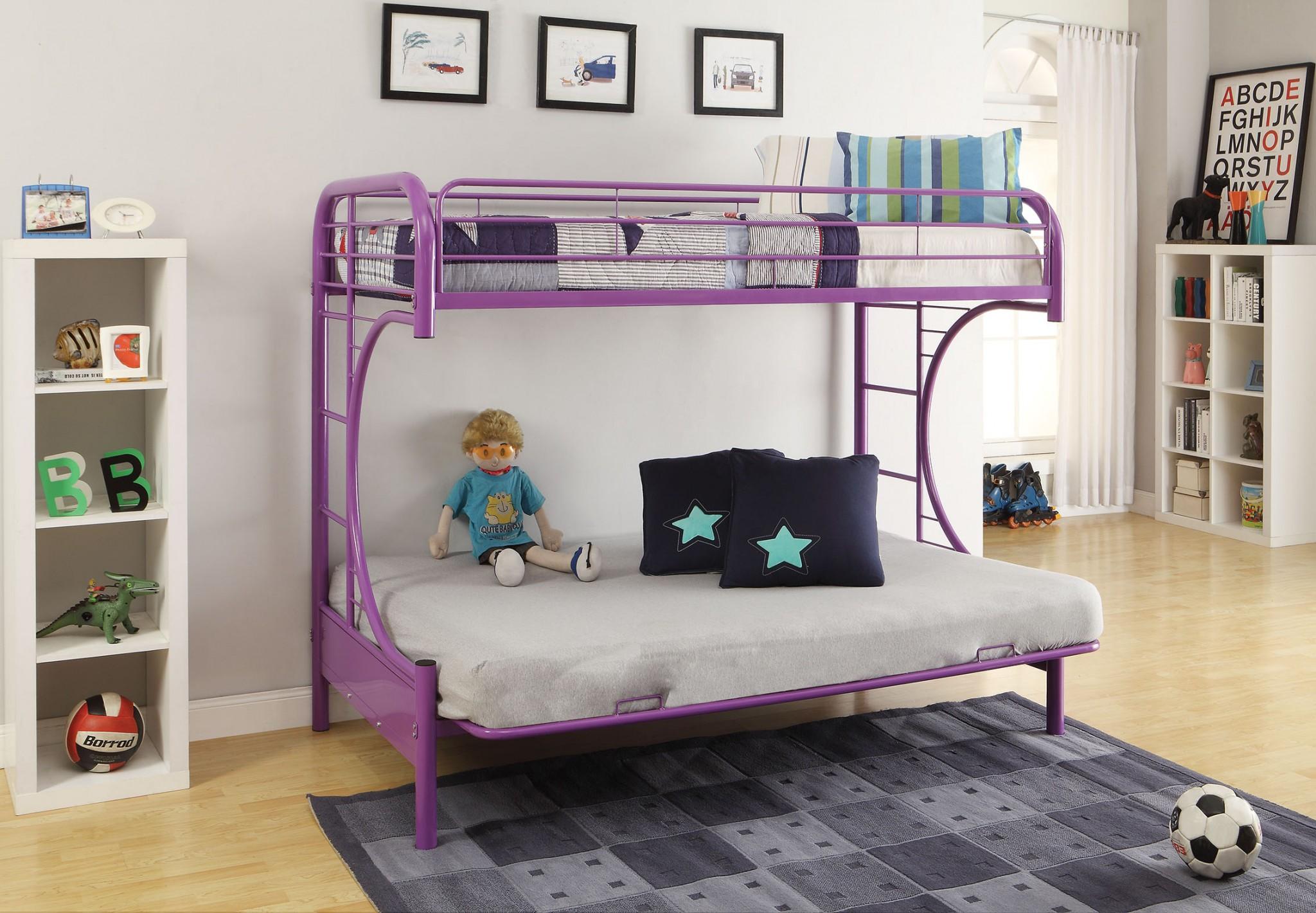 """78"""" X 41"""" X 65"""" Twin Over Full Purple Metal Tube Futon Bunk Bed"""