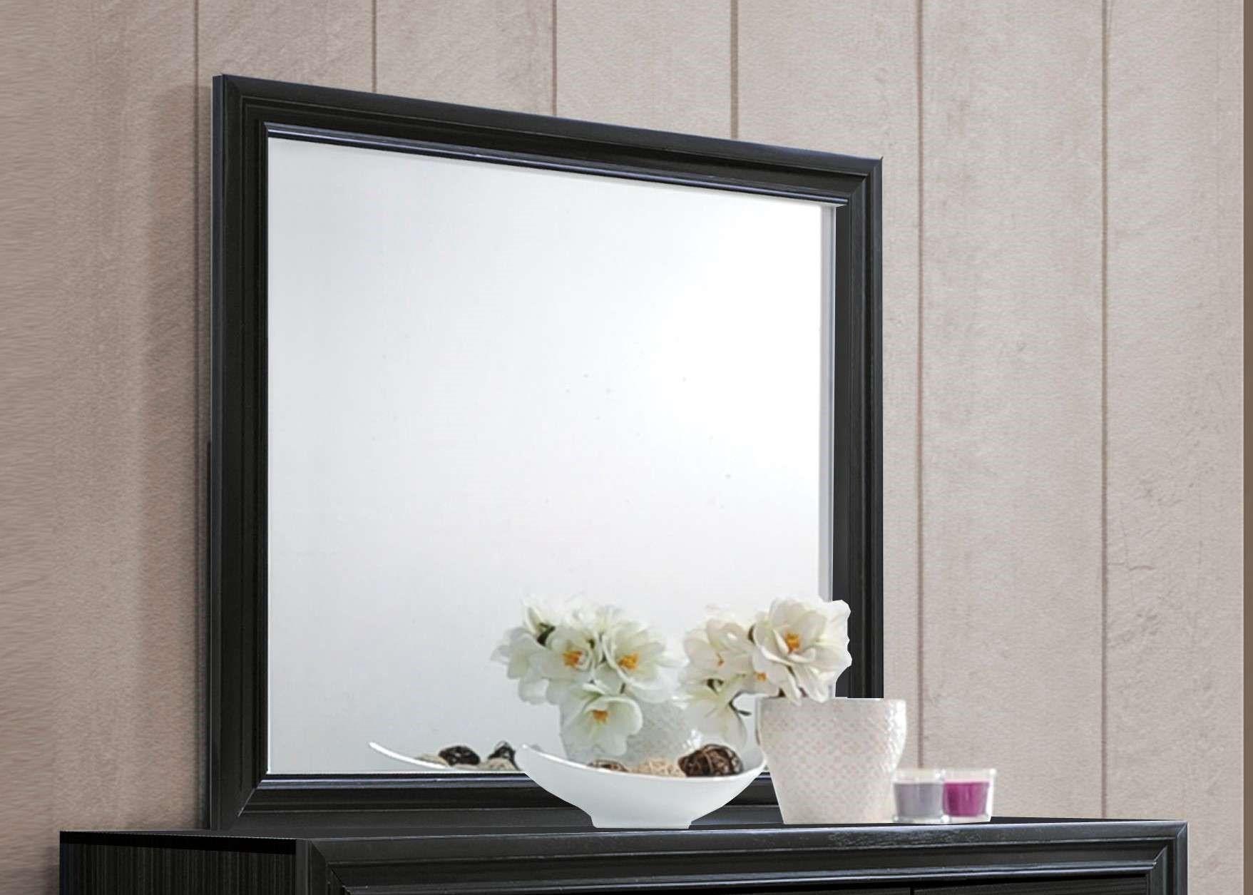 "47"" X 1"" X 36"" Black Glass Mirror"