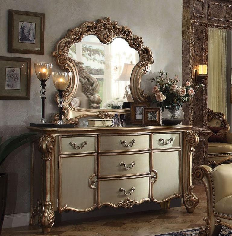 "71"" X 21"" X 38"" Gold Patina  Bone Patina Dresser"