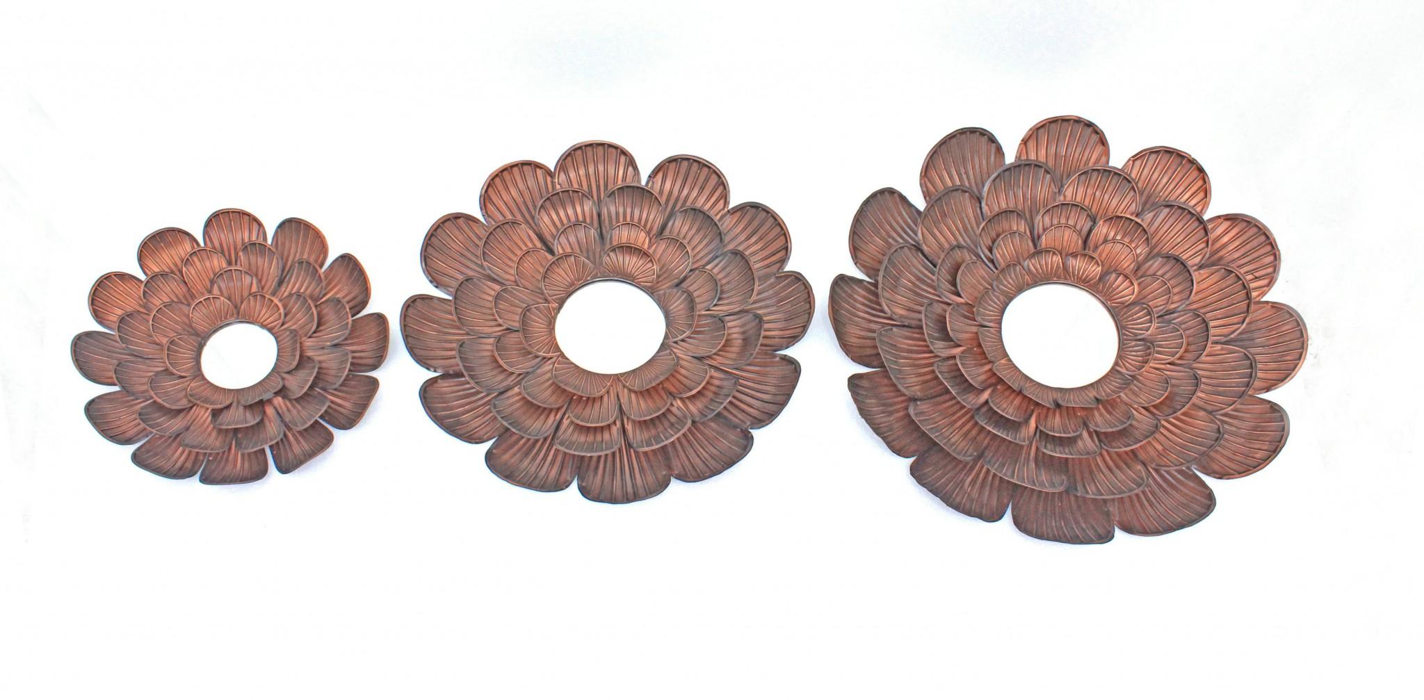 "31"" x 31"" x 3.5"" Copper, 3 Piece, Vintage, Blooming Flower, Metal - Wall Mirror"