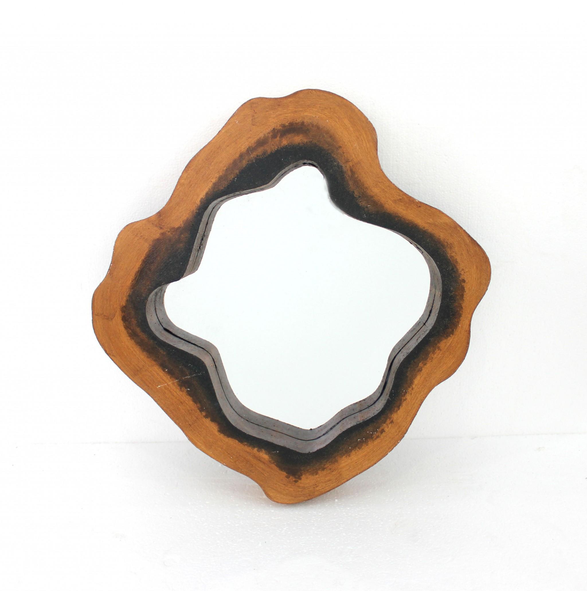 "26"" x 27"" x 3"" Brown, Coastal, Grotto-Like, Wooden Frame - Mirror"