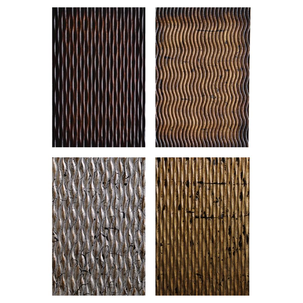 """1"""" x 16"""" x 24"""" Multi-color, Metallic Ridge - Wall Art 4pc"""