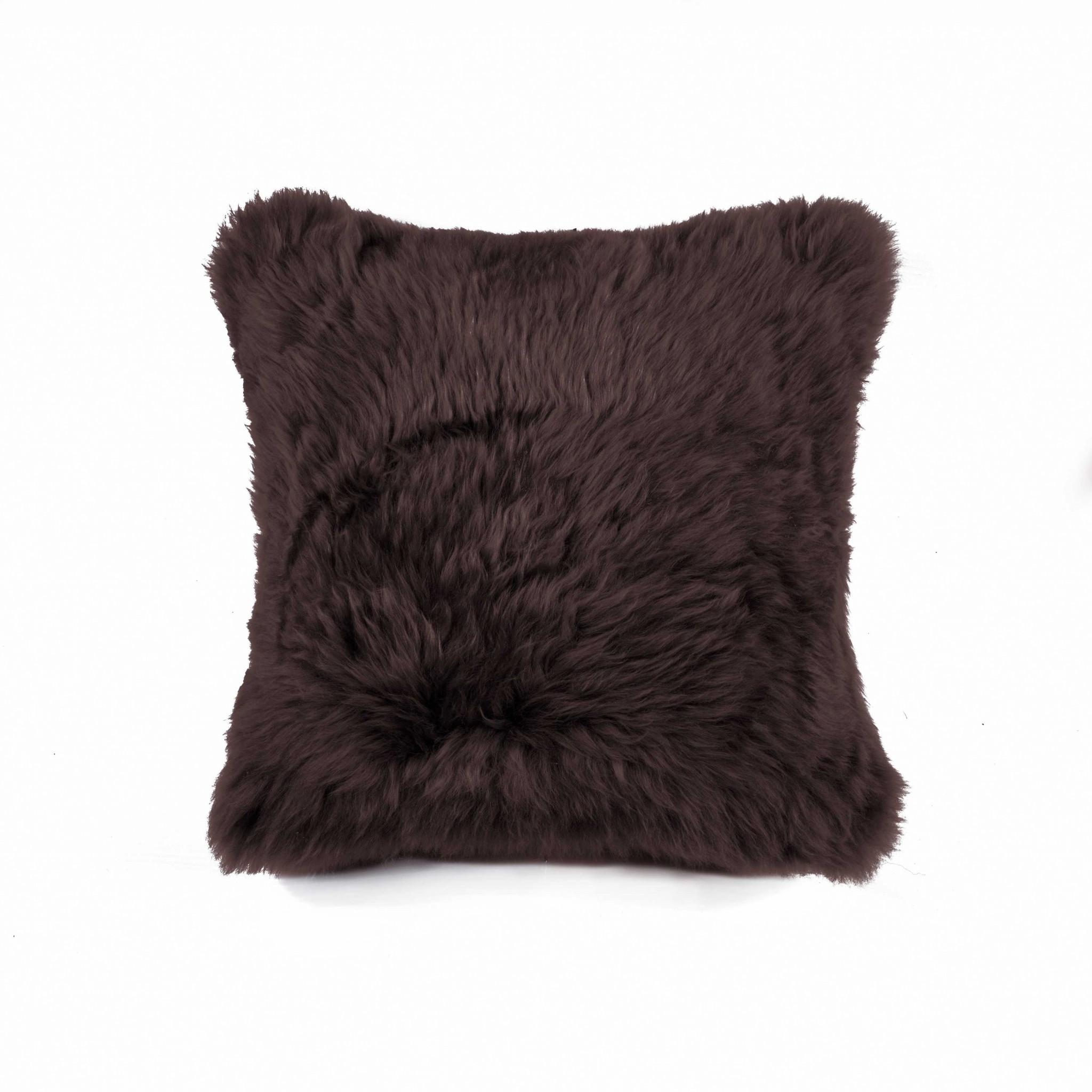 "18"" x 18"" x 5"" Chocolate Sheepskin - Pillow"