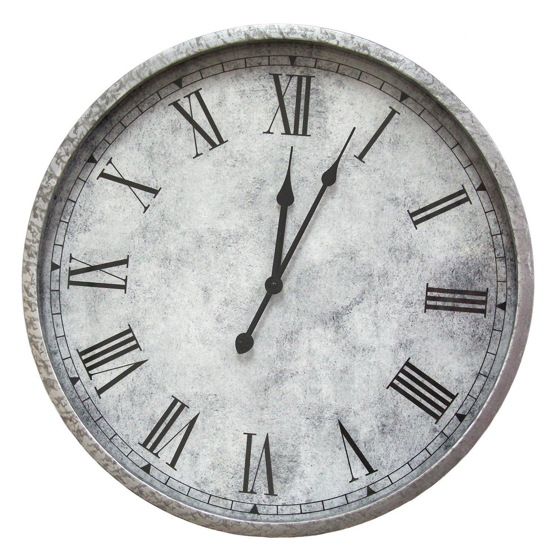 "18"" Round Salvaged Metal   Wall Clock"