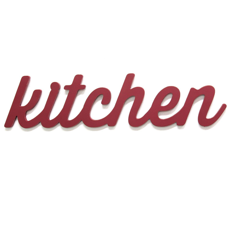 Red Kitchen Wood Word Decor