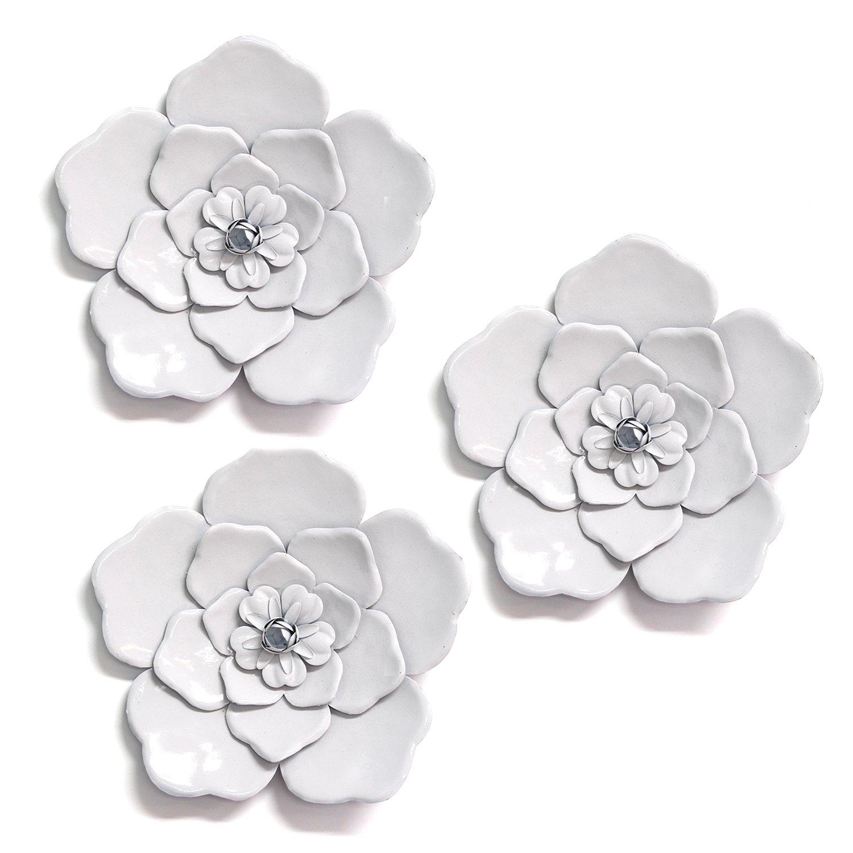 Set of 3 Alluring White Metal Flowers  Wall Art Decor