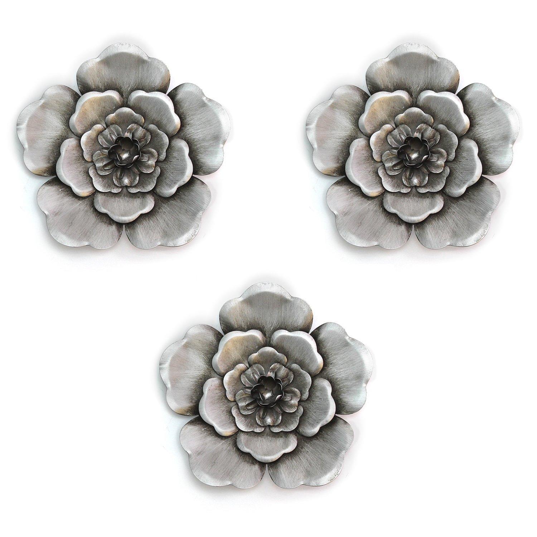 Alluring Silver Metal Wall Flowers