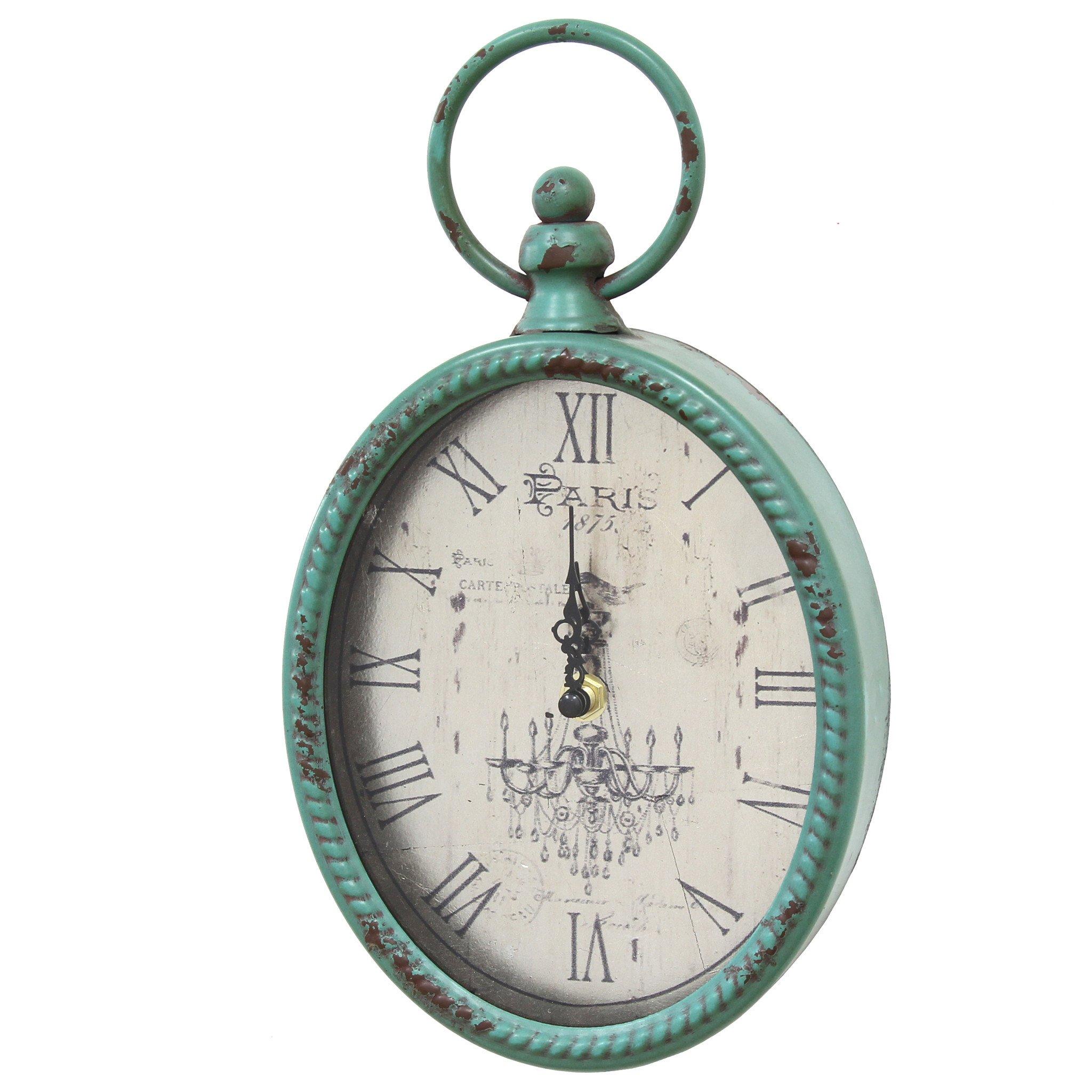 """11.5"""" Teal Oval Vintage Look Metal Wall Clock"""
