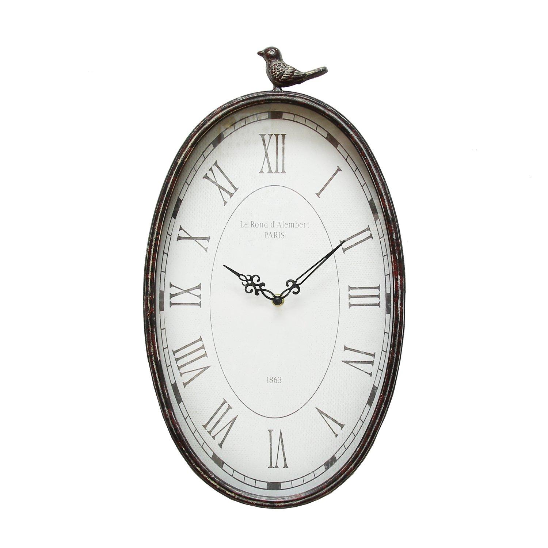"10.75"" Oval Distressed Gunmetal Antique Bird Clock"