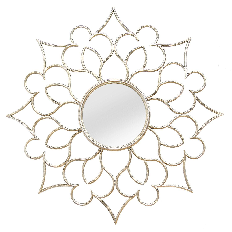 "7"" Round Silver Quatrefoil Metal Framed Wall Mirror"