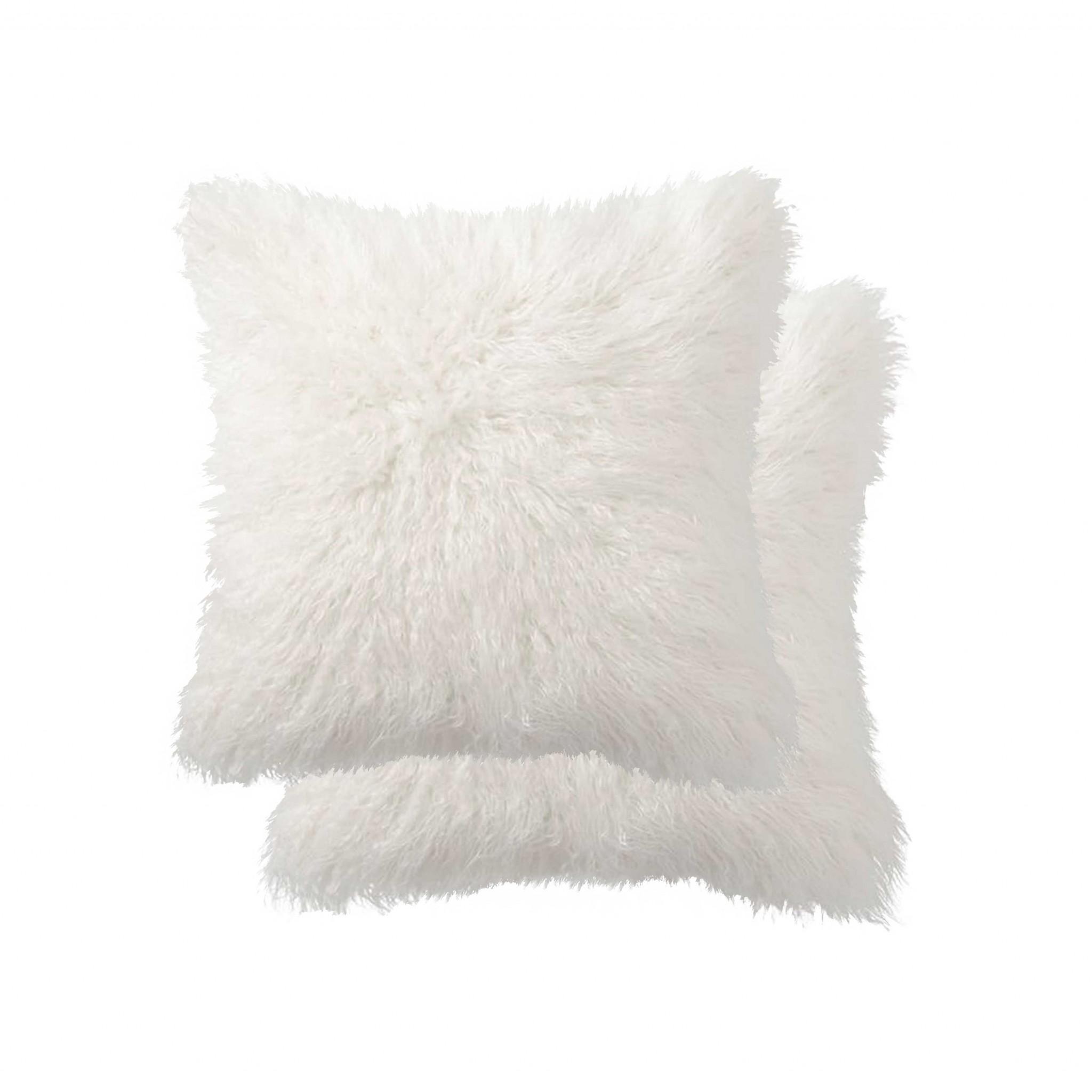 "18"" x 18"" x 5"" Off White, Faux Fur - Pillow 2-Pack"