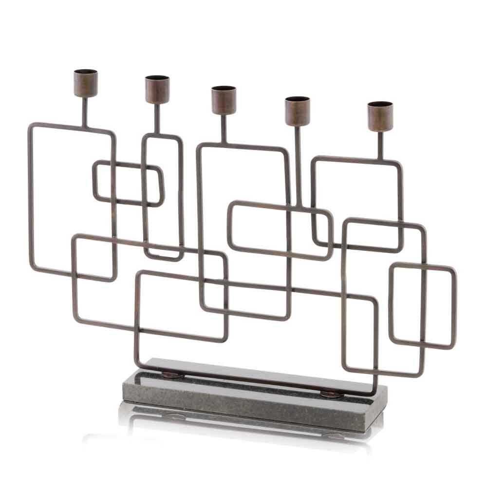 "13"" x 3"" x 18"" Antique Brass Black Squares Candleholder"