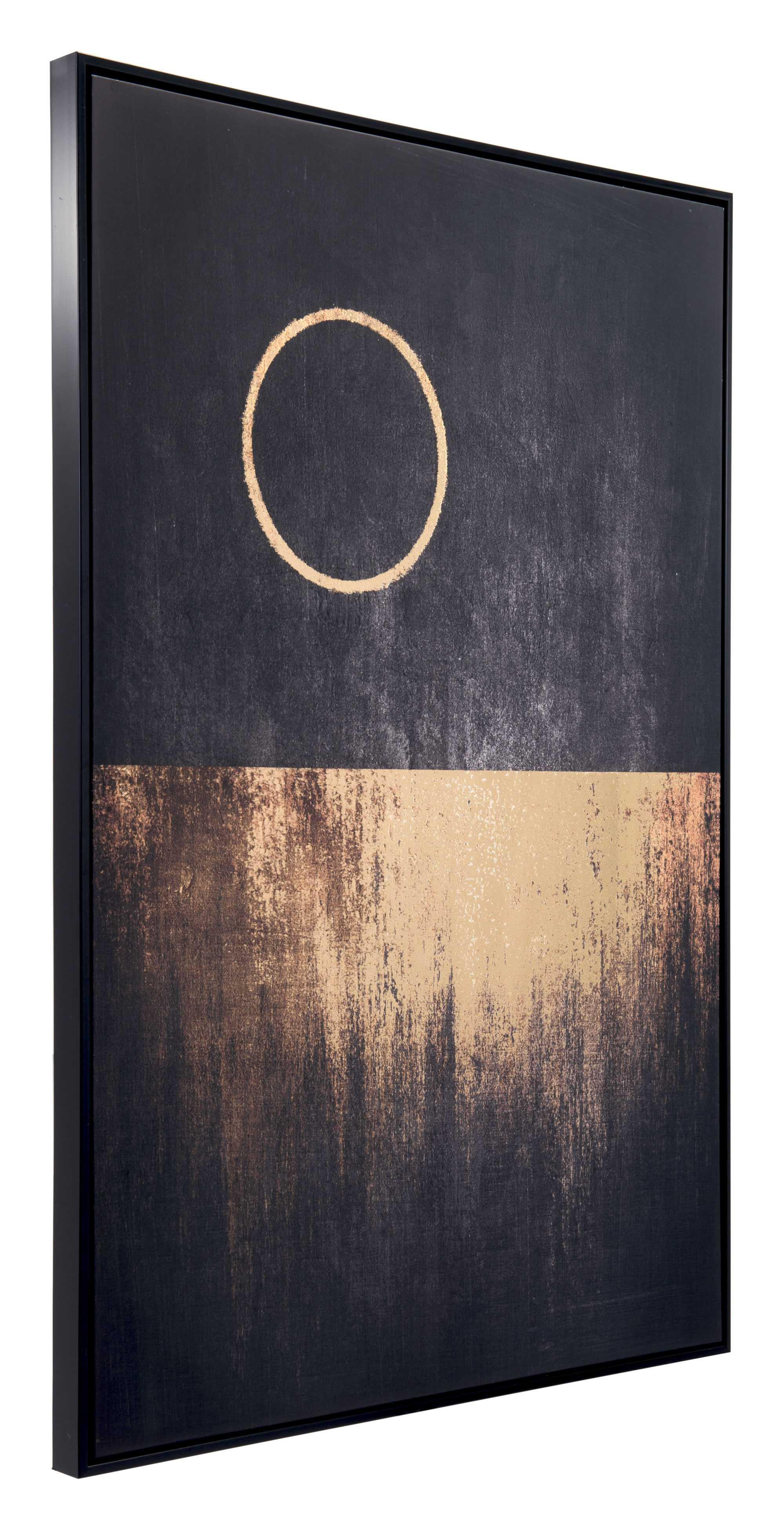 "32.7"" x 1.7"" x 48.4"" Black & Gold, Pine Wood, Moon Rises Canvas"