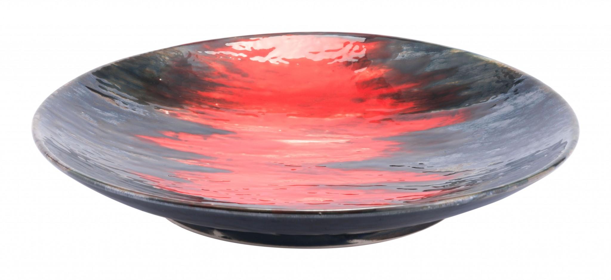 """14.6"""" x 14.6"""" x 2.4"""" Black & Red, Ceramic, Plate"""