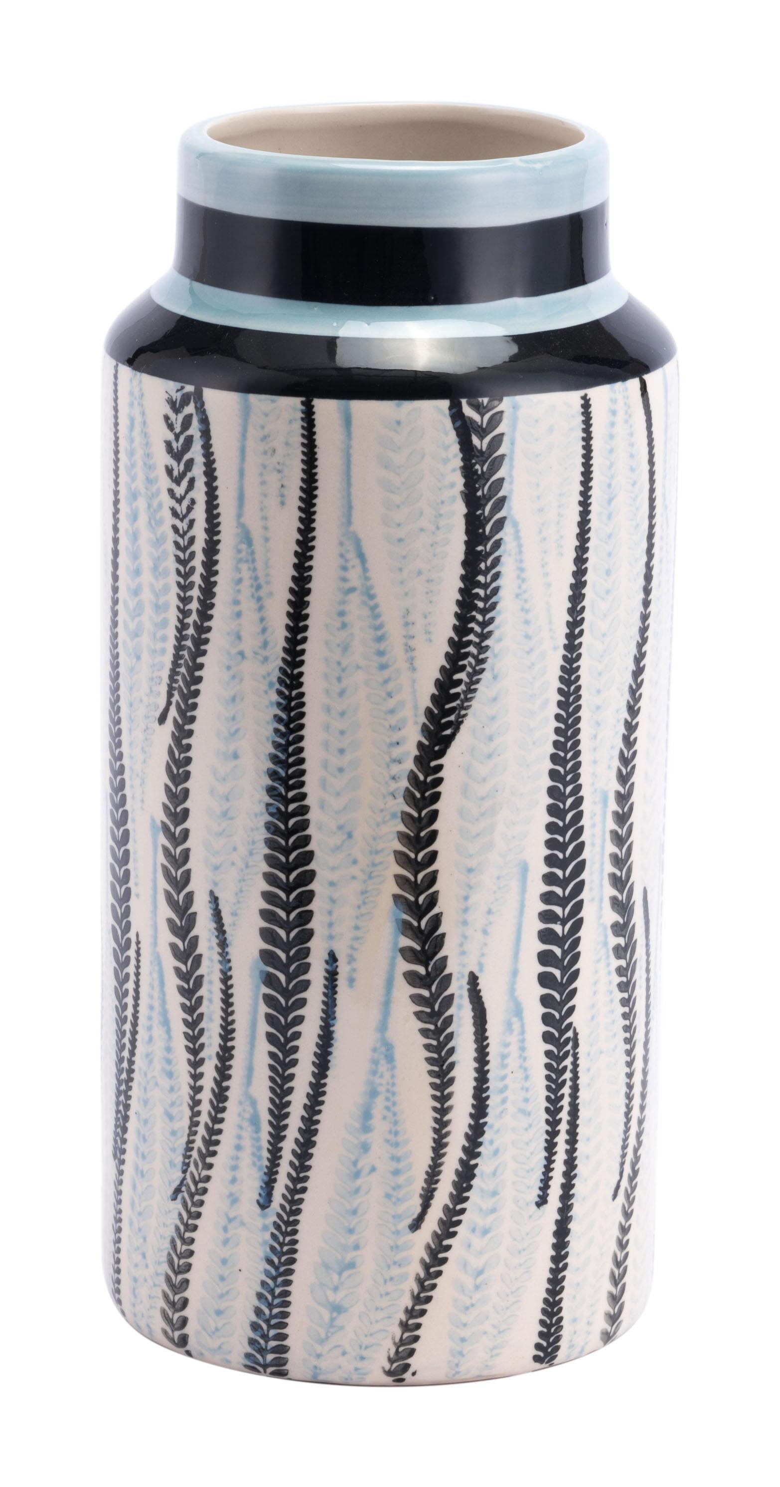 "5.5"" x 5.5"" x 11.4"" White & Black, Ceramic, Small Vase"