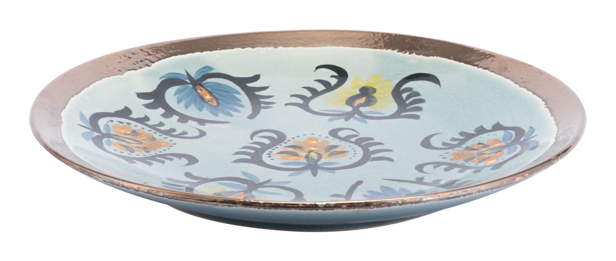 "16.5"" x 16.5"" x 2"" Multicolor, Ceramic, Plate"