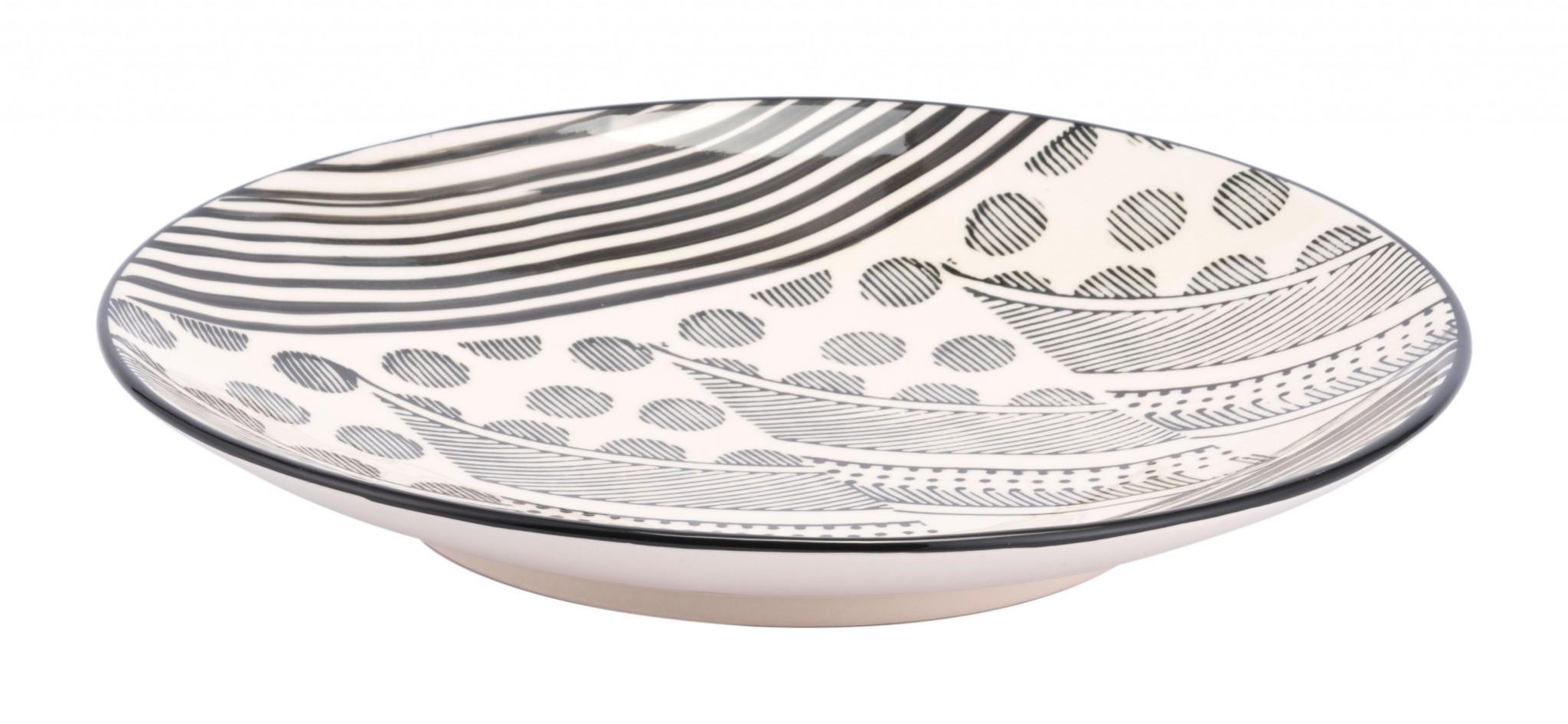 "14.2"" x 14.2"" x 2.2"" Off White & Black, Ceramic, Plate"