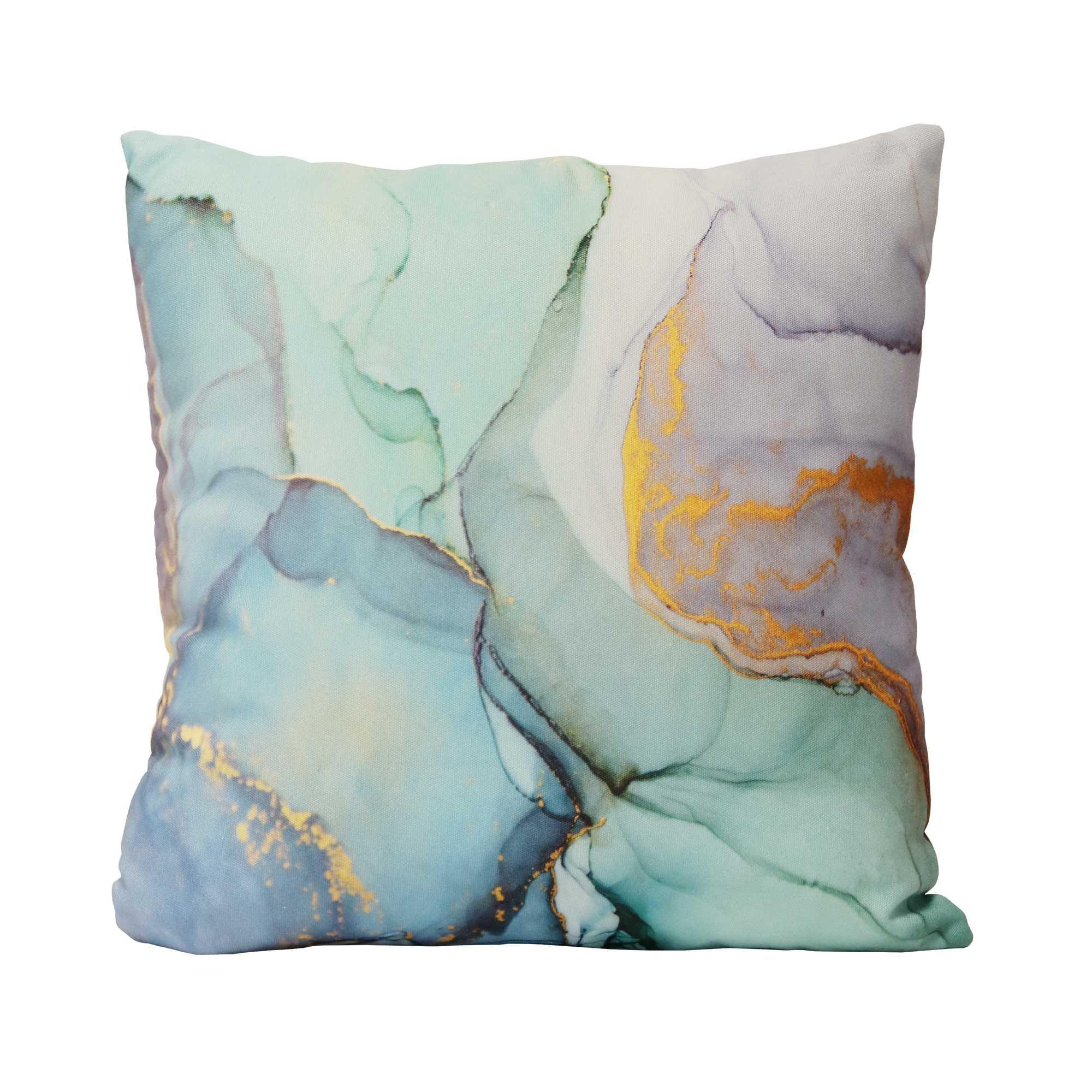 Pastel Watercolor Marble Cotton Square Pillow