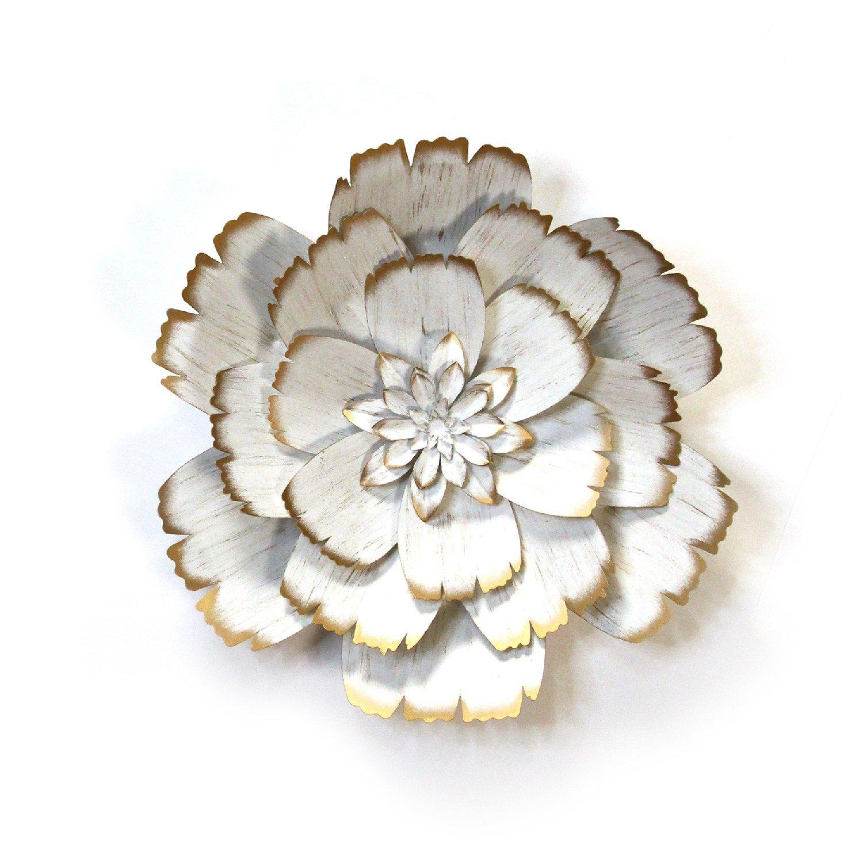 Shimmering Gold & White Metal Flower