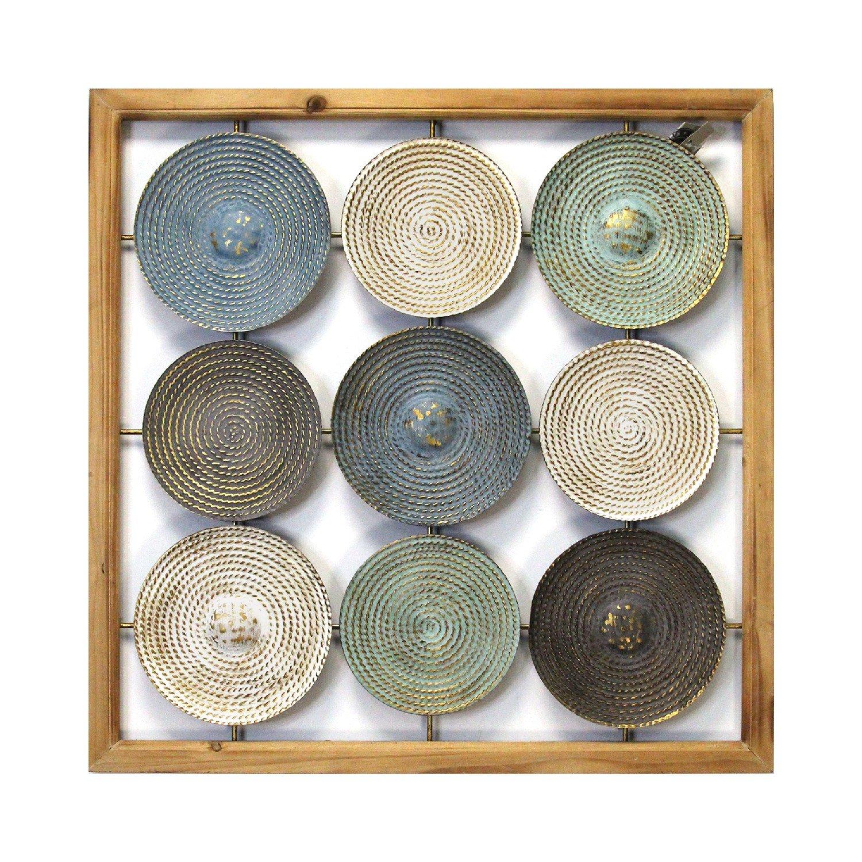 Distressed Multi-Color Metal & Wood Framed Plates