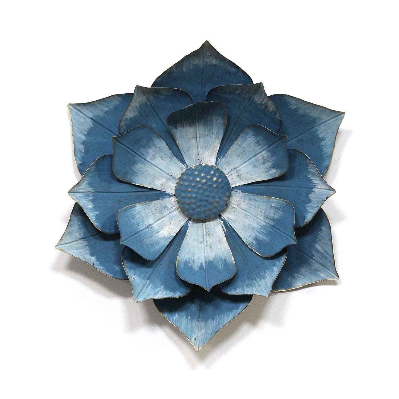 Blue & Gold Ipomoea Metal Flower