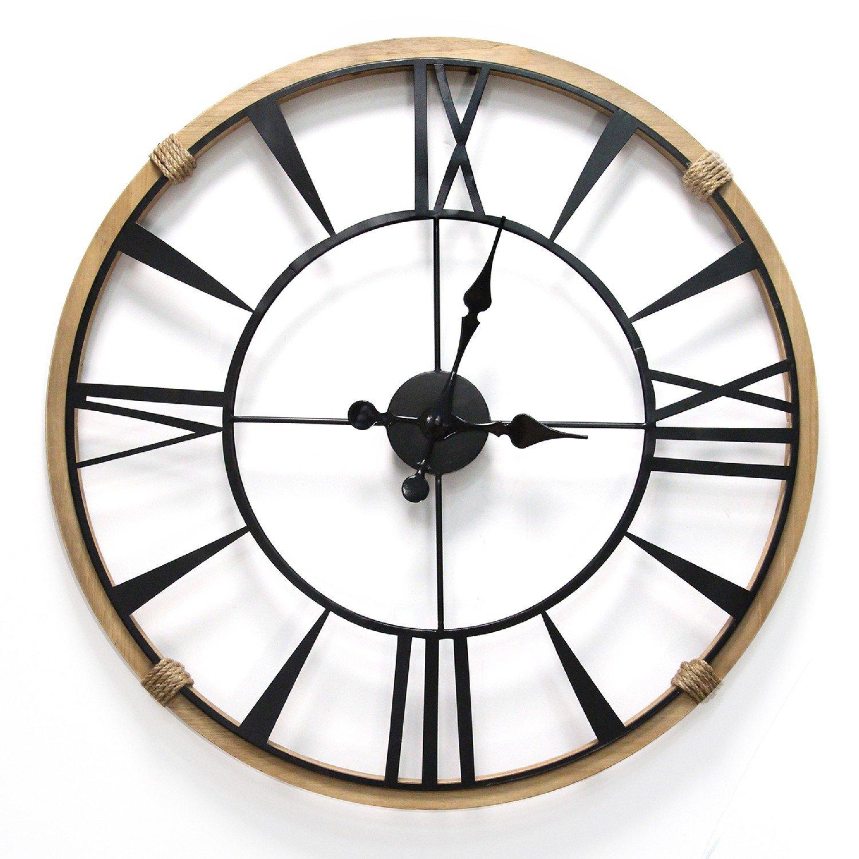 """29.5"""" Round Metal & Wood Frame Columbus / Wall Clock"""