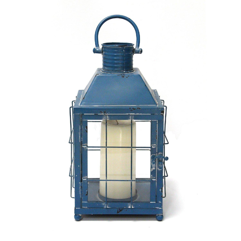 Distressed Blue Metal Lighthouse Lantern