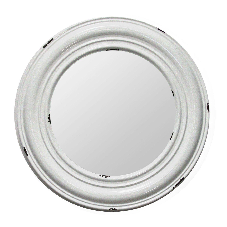 "24.75"" Round Priscilla Distressed Medallion Metal Mirror"