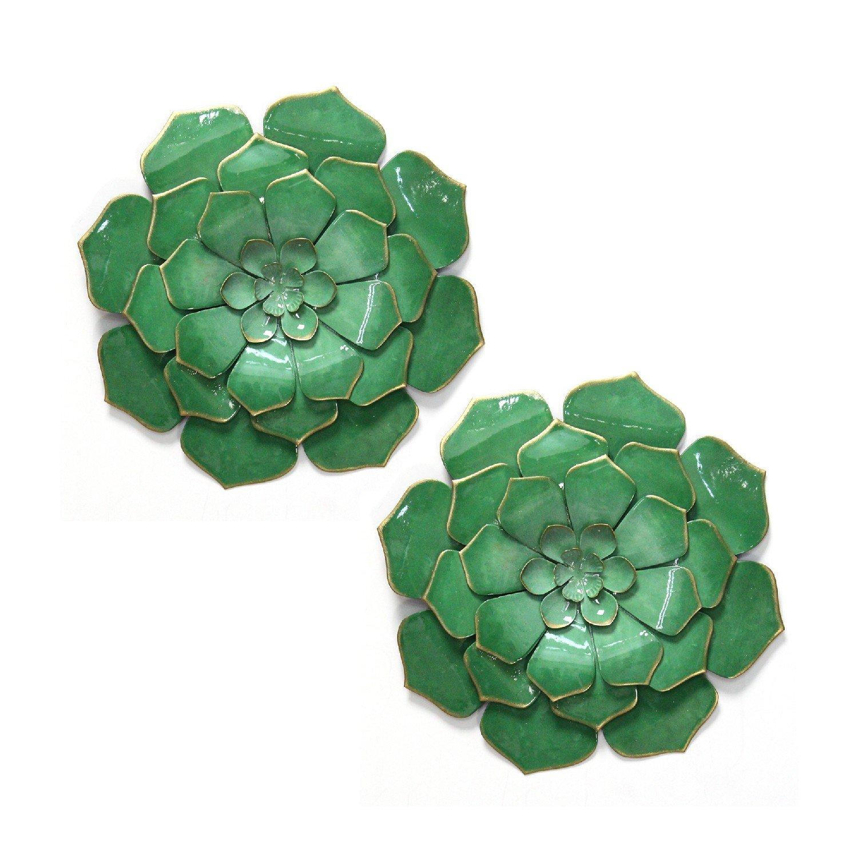 S/2 Vibrant Green Metal Flowers
