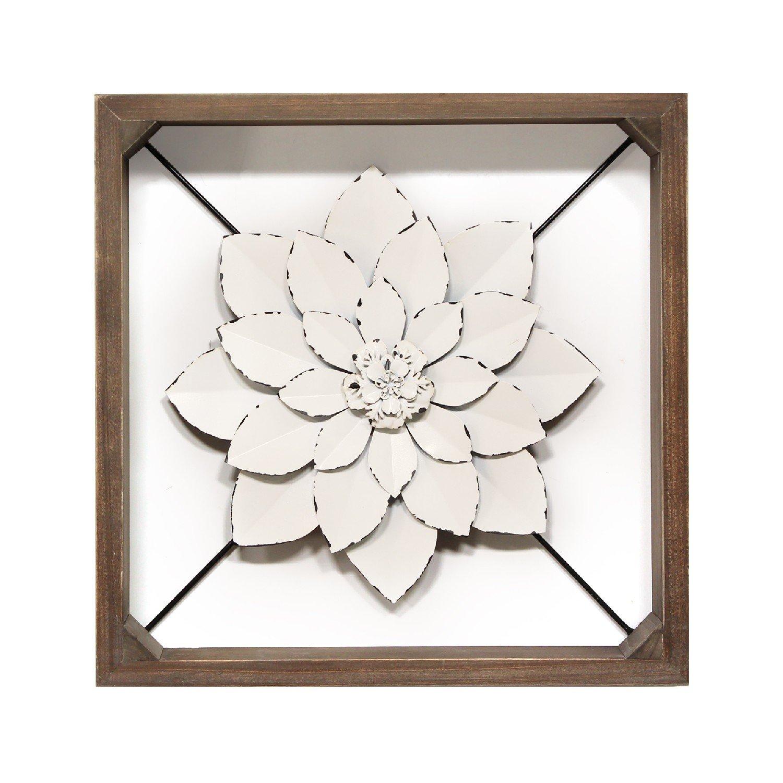 White Metal & Wood Framed Wall Flower