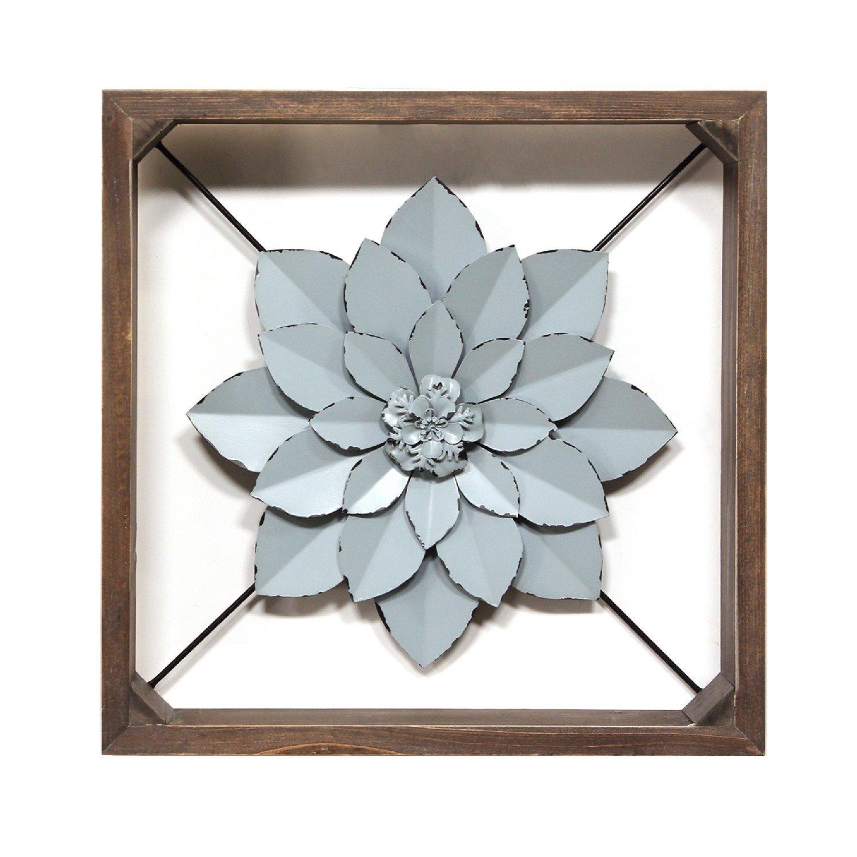 Blue Metal & Wood Framed Wall Flower