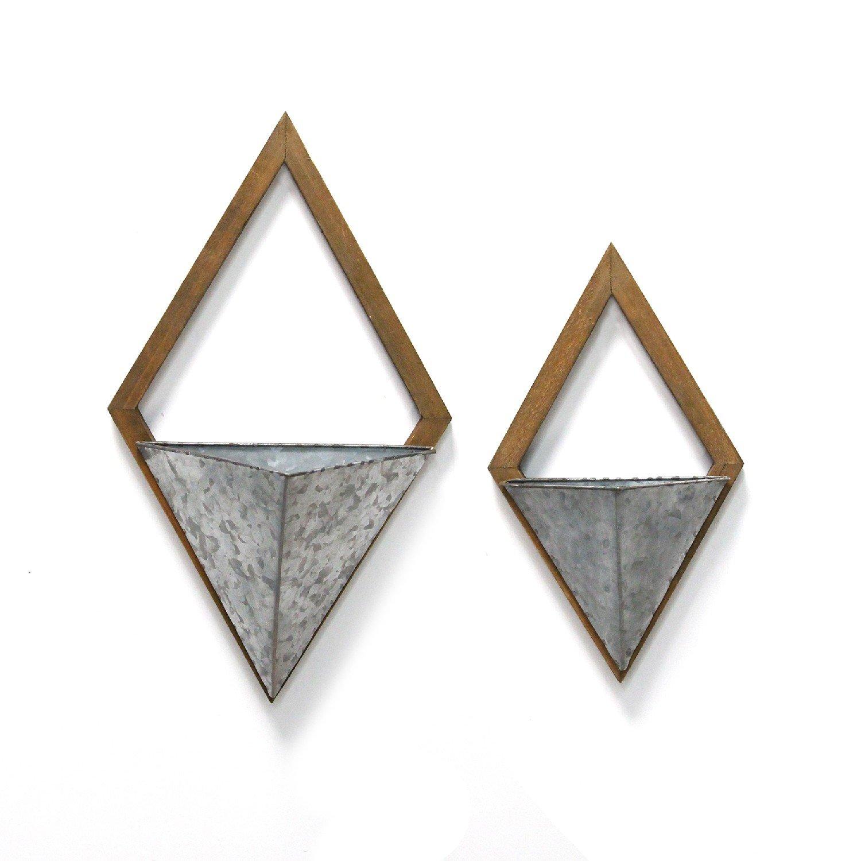 S/2 Diamond Wood & Metal Wall Planters