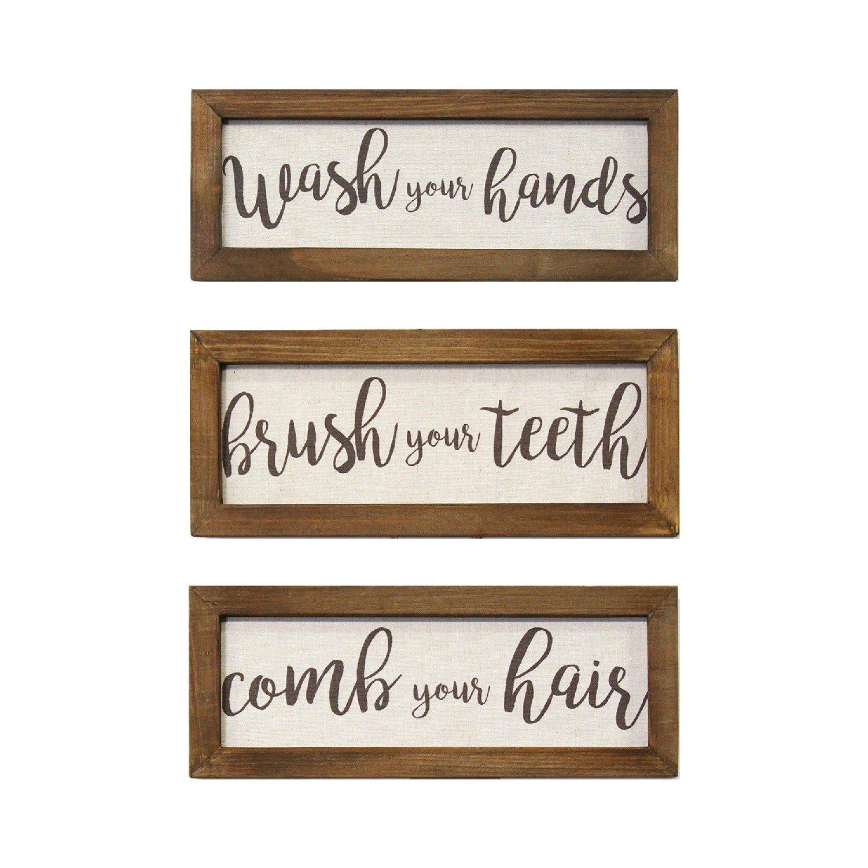 Set of 3 Linen Bathroom Rules Wood Framed Wall Art