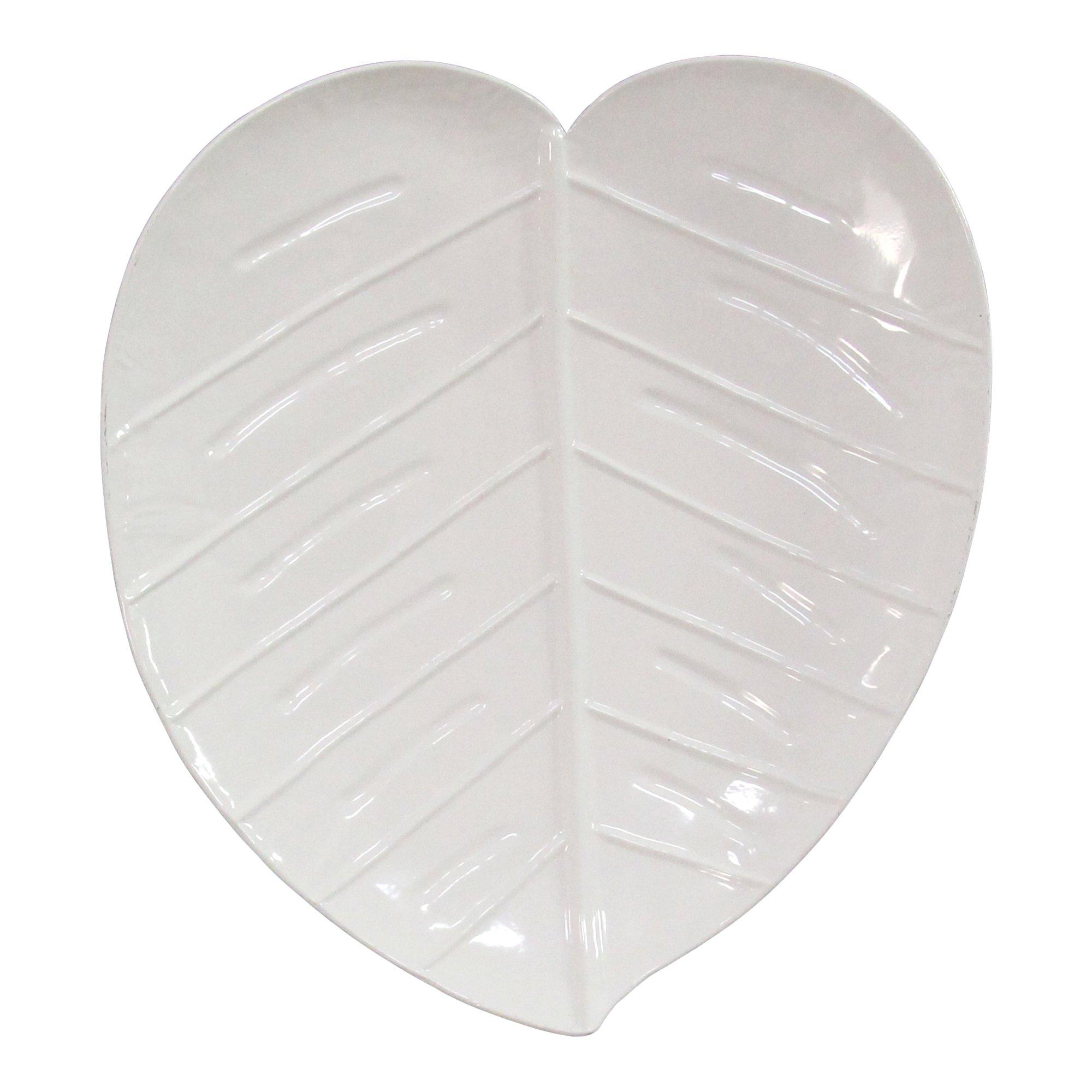 Glossy-White Decorative Metal Leaf