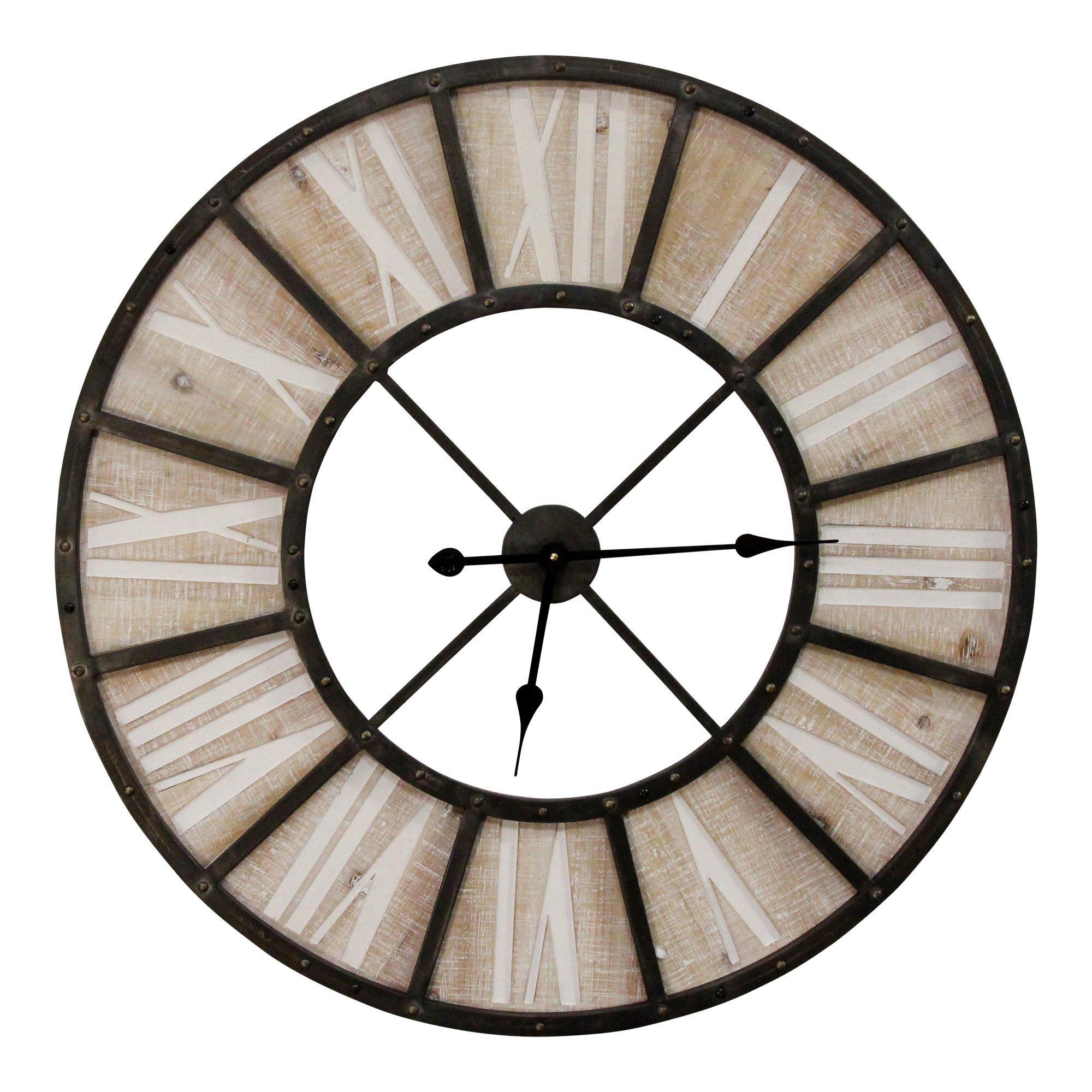 "31.50"" Oversized Wood & Metal Farmhouse Jackson Wall Clock"