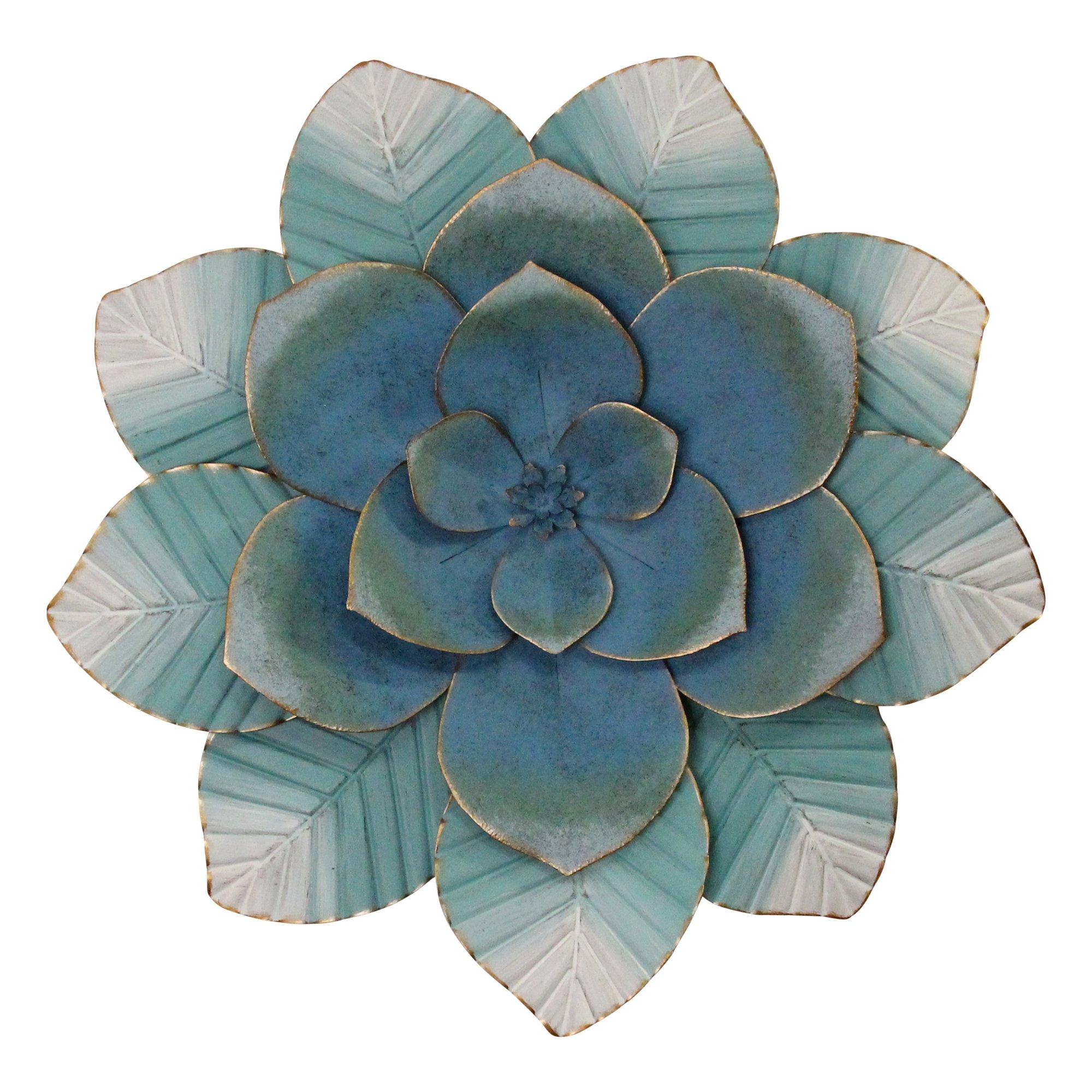 Blue Ombre Metal Flower Wall Decor