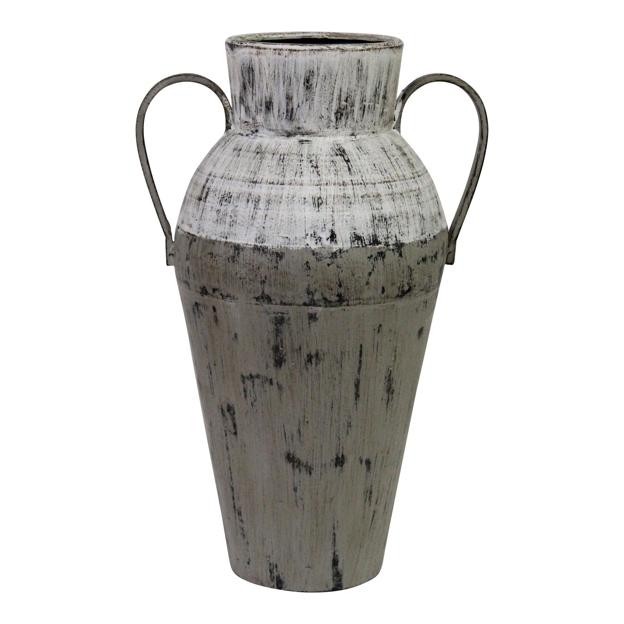 Tall Aged Look Distressed Metal Vase