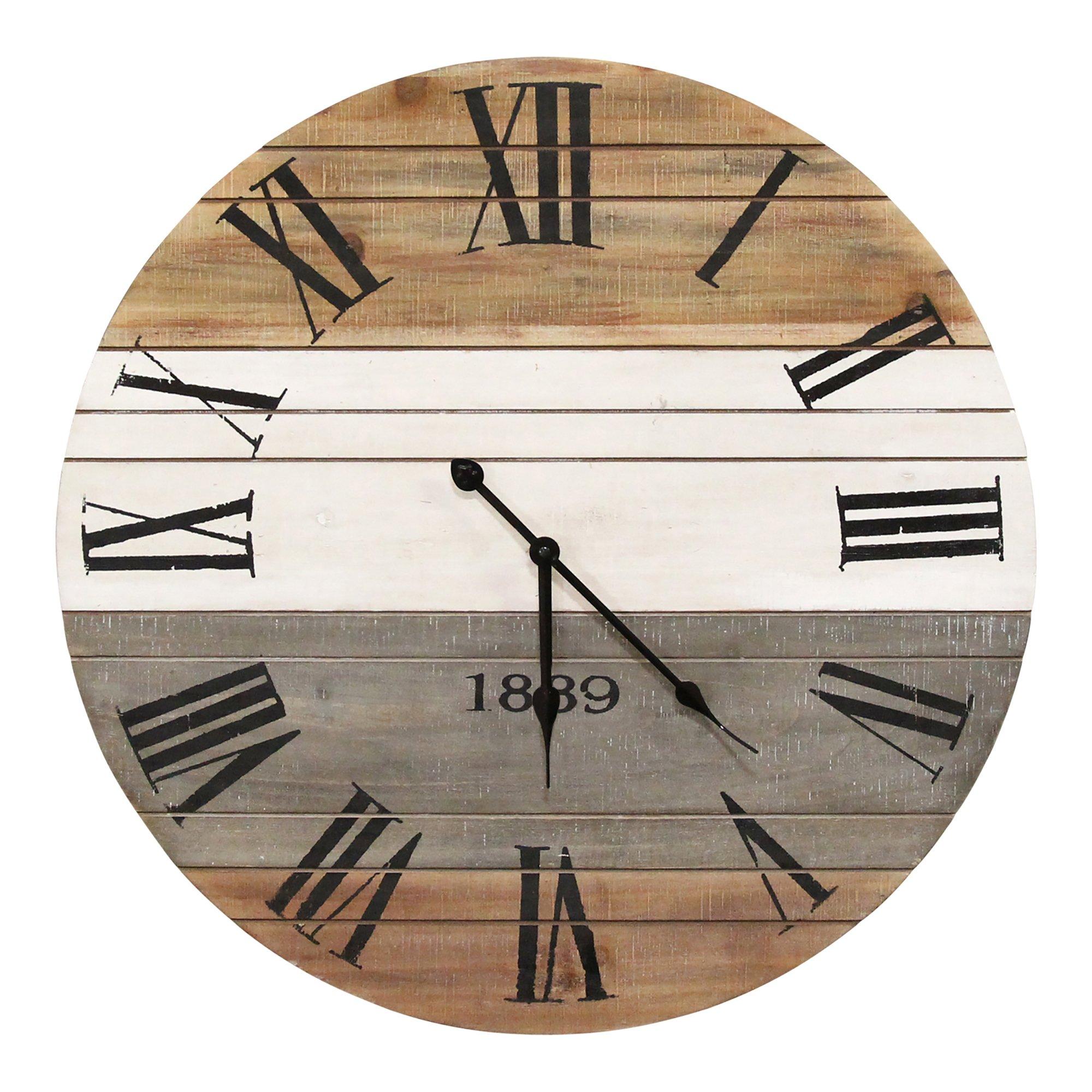 "21"" Round Distressed Wood-Grain Whitewash / Wall Clock"