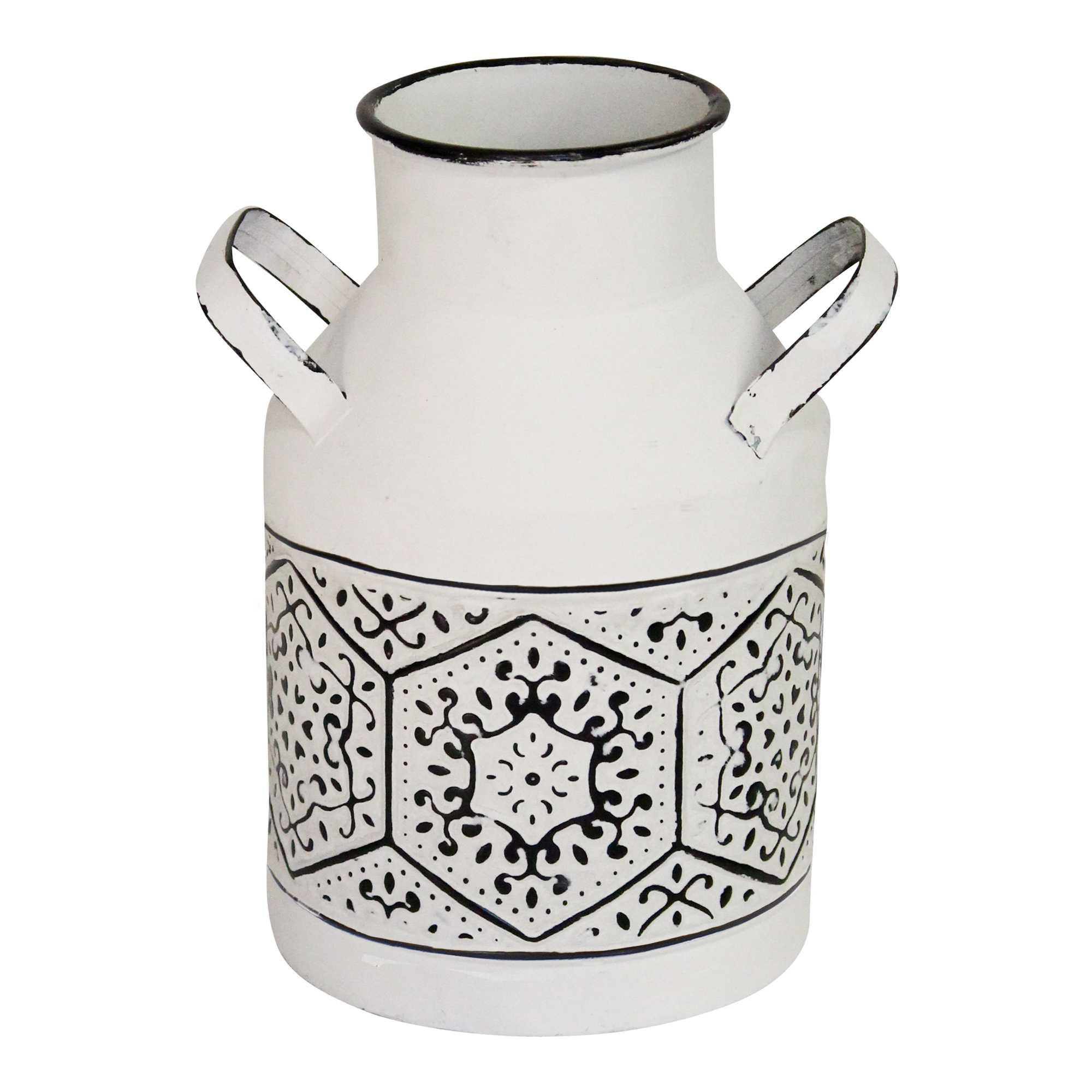 "10"" Black and White Metal Distressed Vase"