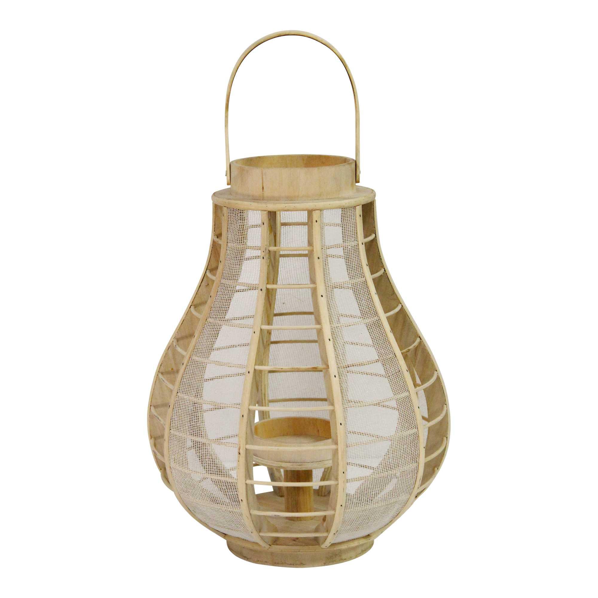 Bamboo and Wood Burlap Mesh Lantern