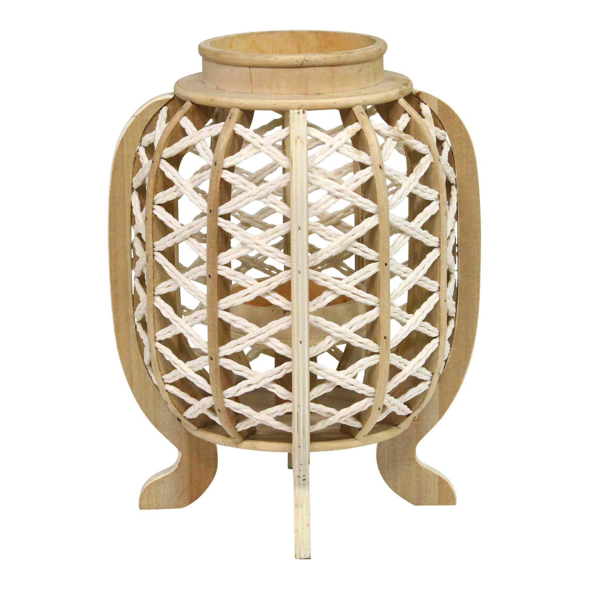 Carribean Style Bamboo and Wood Jute Lantern