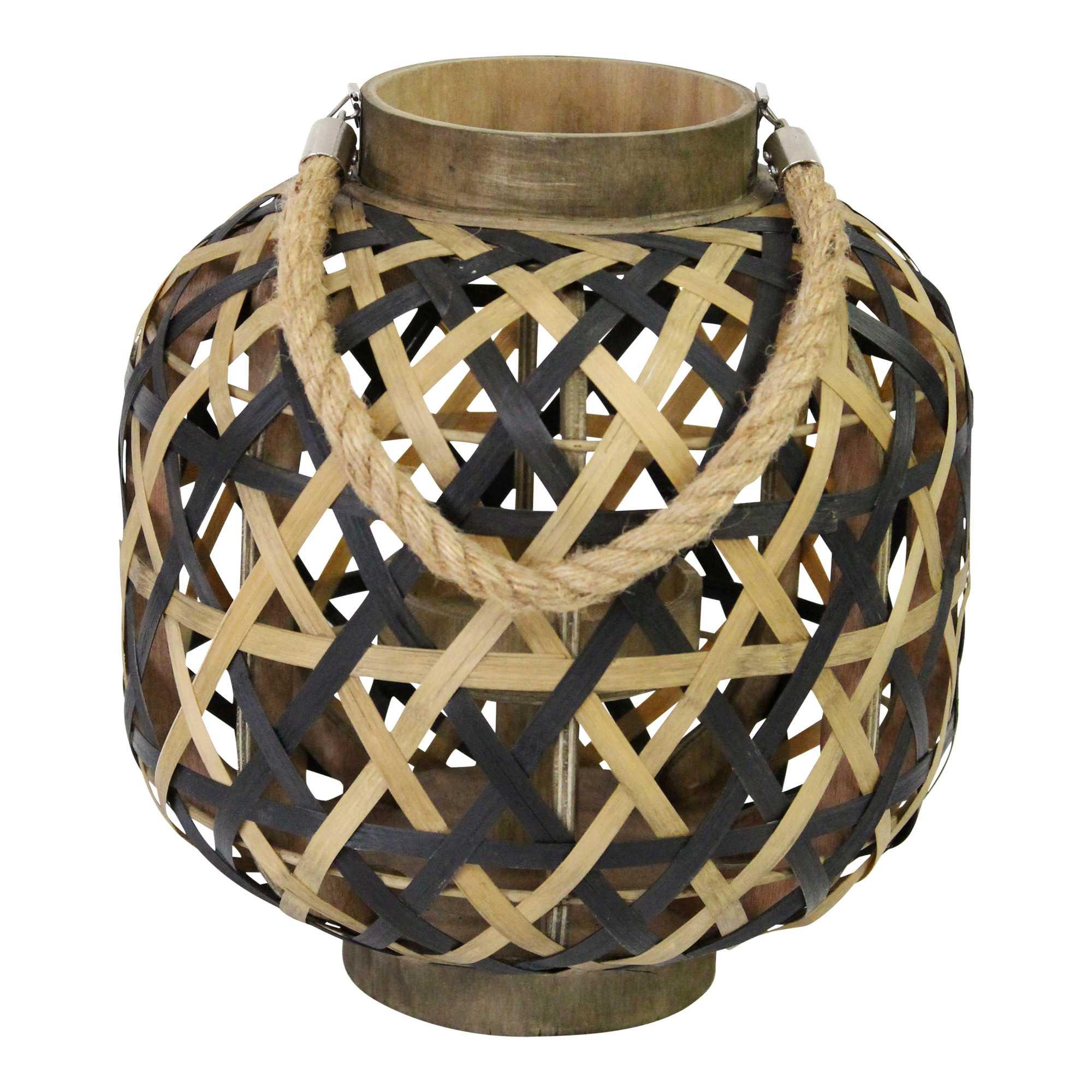 Boho Two-Tone Woven Lantern