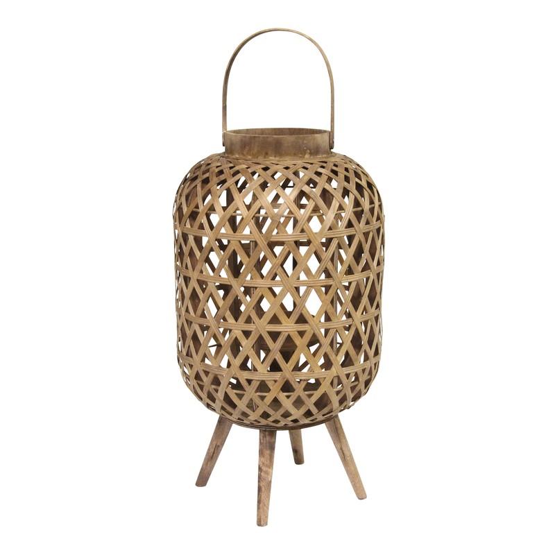 Coastal Bamboo and Wood Lantern Stand