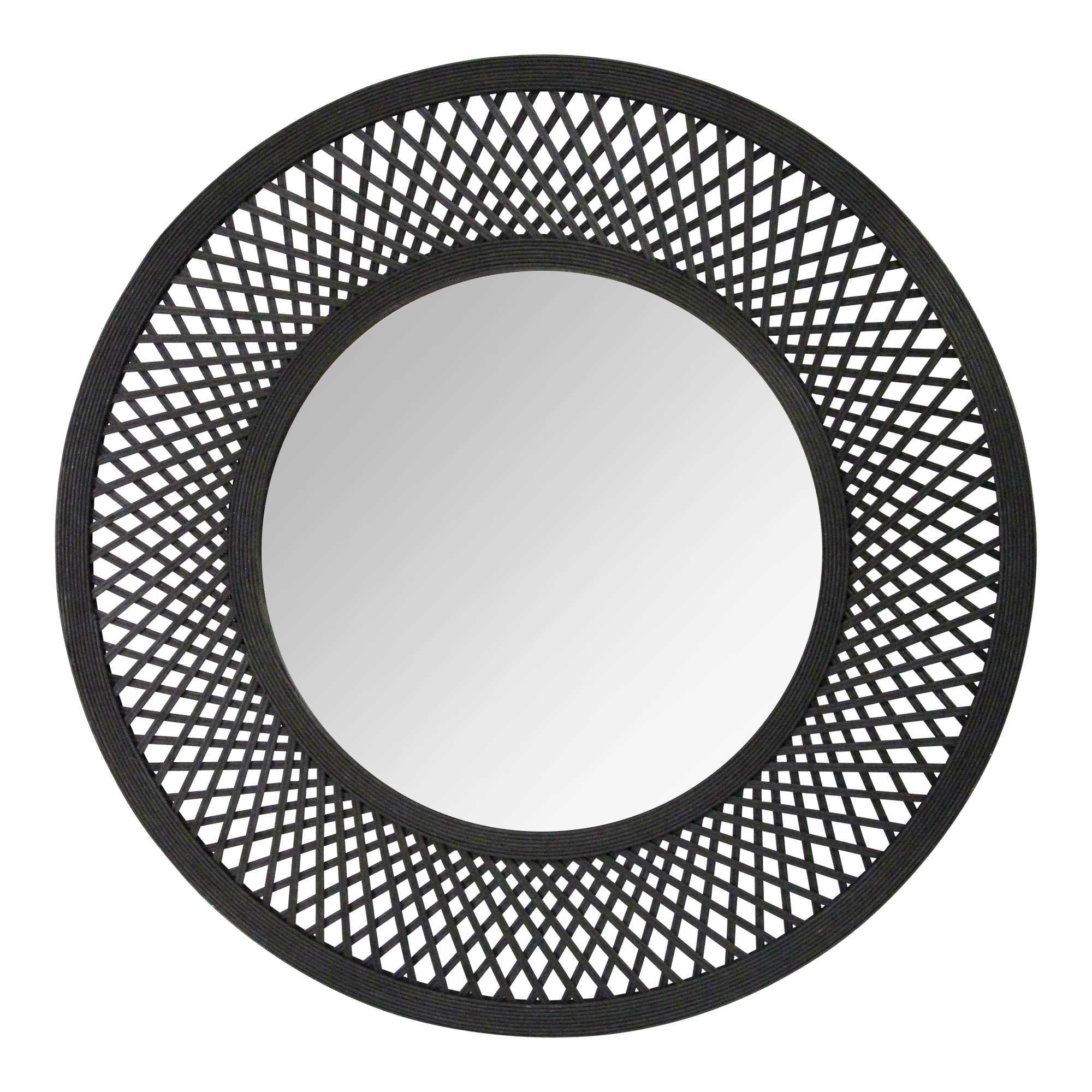 """38"""" Andi Black Woven Rattan Mirror"""